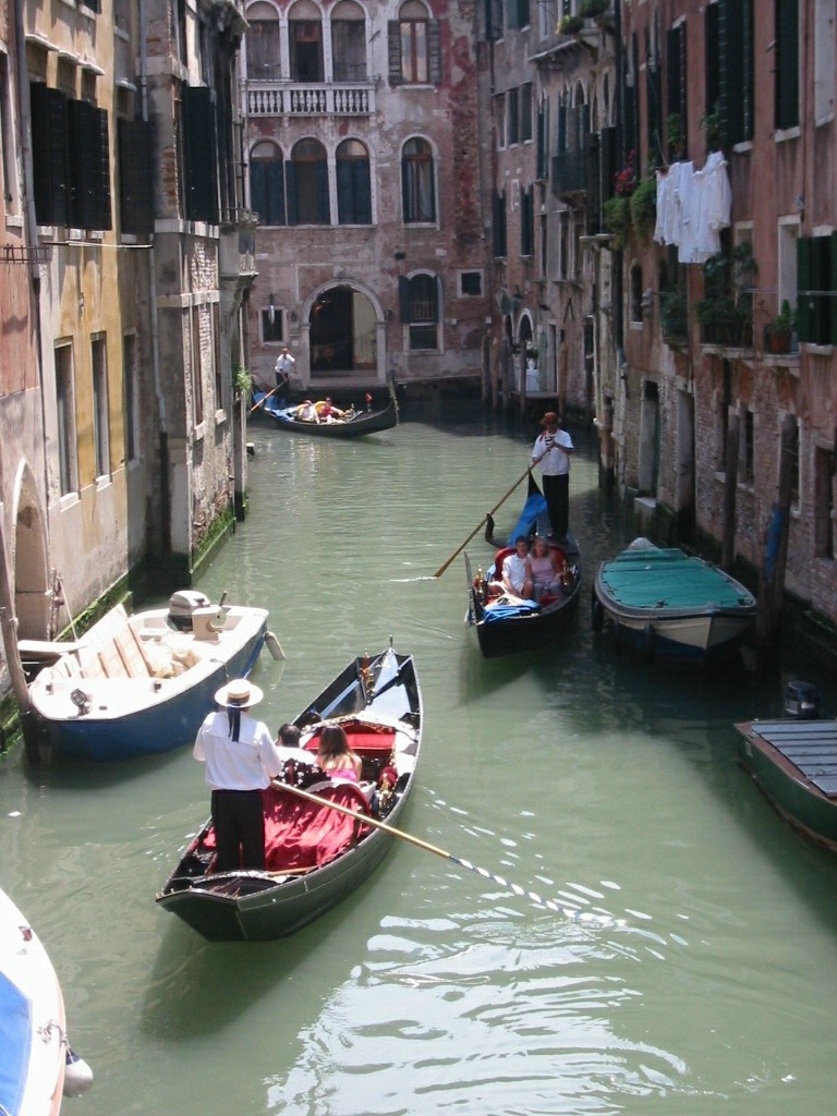 Gondola traffic on the Venetian Canals