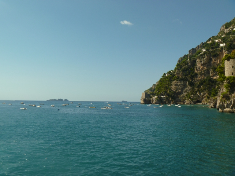 Looking northward towards Naples. My ferry will take me back around that rocky bend tomorrow.