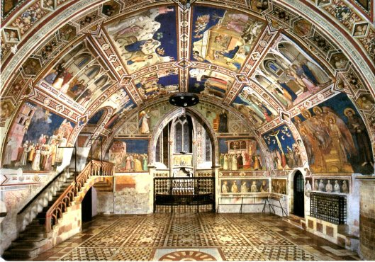 Bright Frescoes inside St. Francis Basilica-Some by Giotto