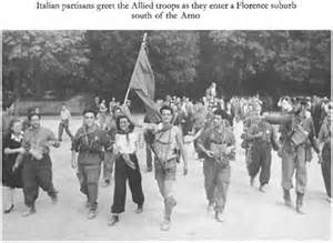 Italian Partisans greet the Allied Troops