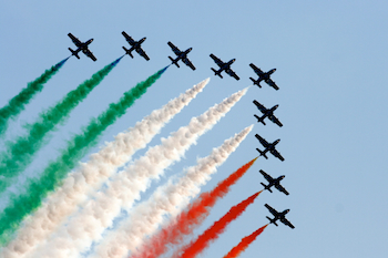 Airplanes overhead celebrate Liberation Day