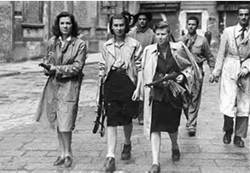 Women Italian Partisans Patrol the streets of Milan