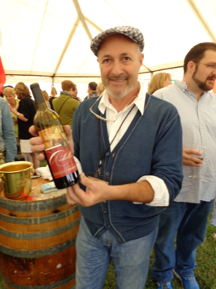Franco shows off his bottle of Marchesi wine