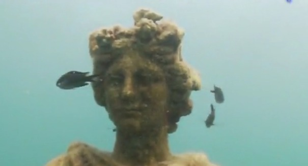 Statue in Underwater Park of Baia-Still from Fabio