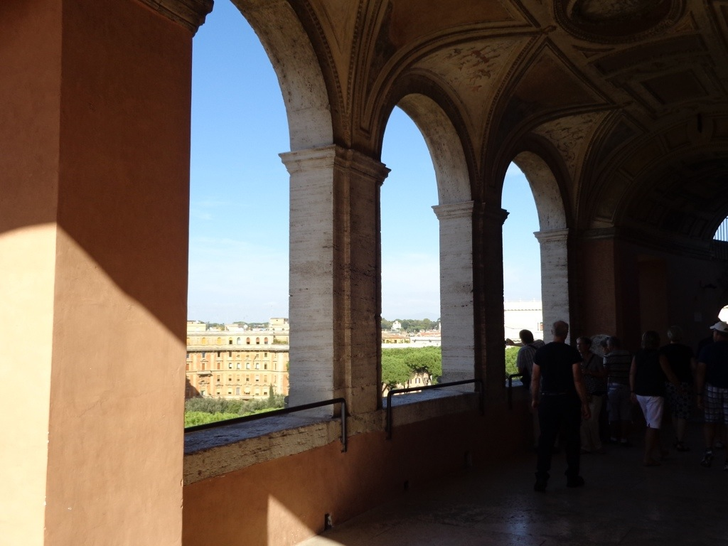 Inside Castel Sant'Angelo looking out through the arches