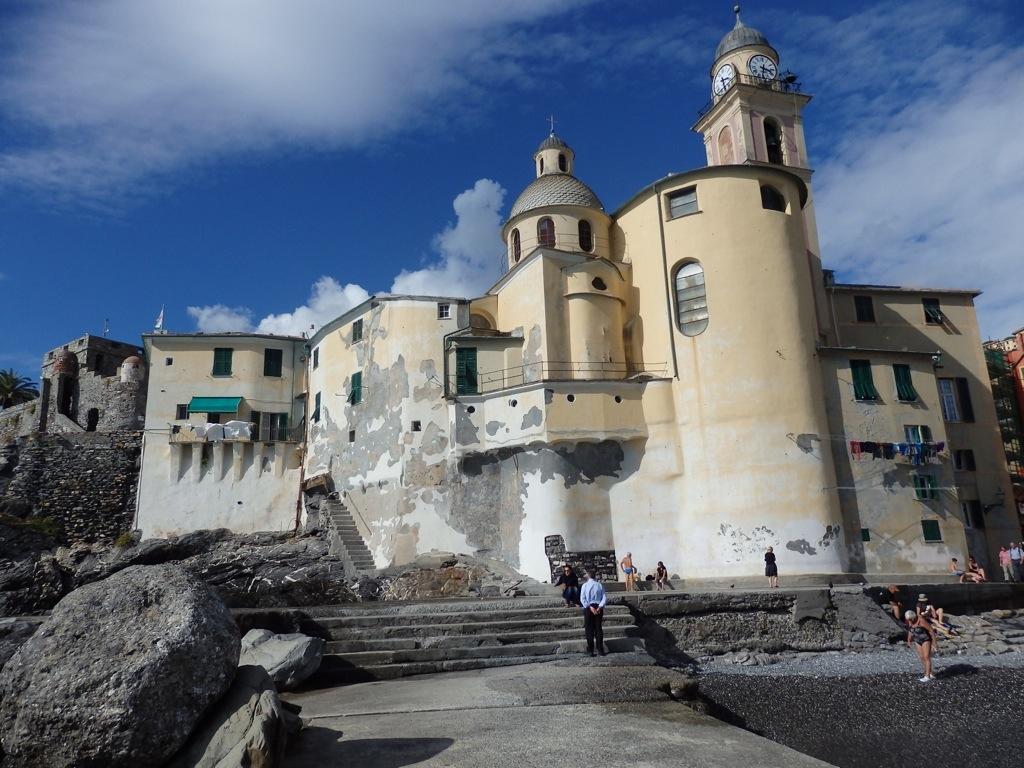 Camogli basilica on the harbor beach