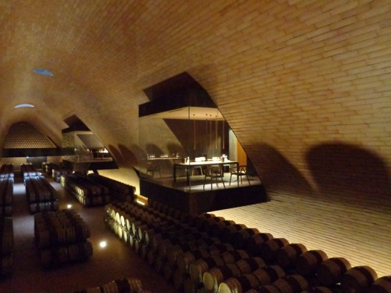 The Antinori tasting room just out over barrels of wine