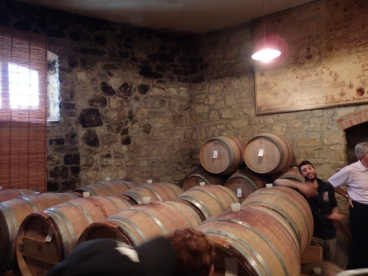 The barrell room where the exquisite Verrazzano wines age to perfection
