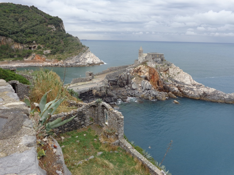 Porto Venere's Bay of Poets and St. Johns Church. Byron's Grotto is just below