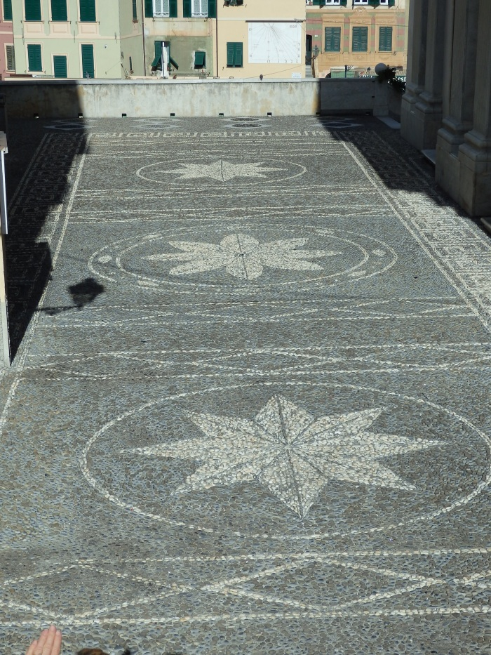 Pebble mosaic in front of the church courtyard