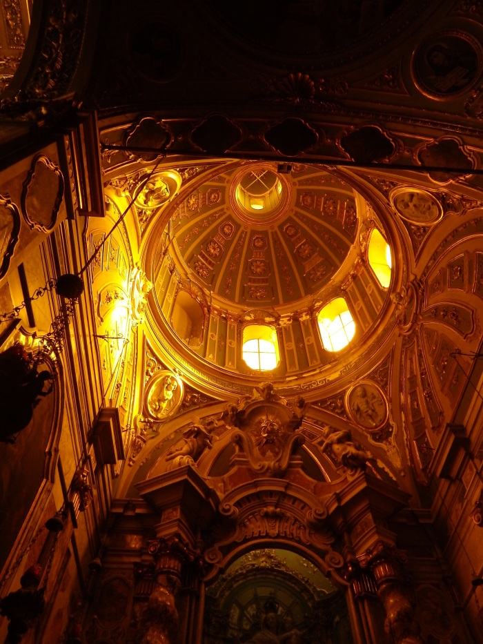 Basilica dome in a golden glow