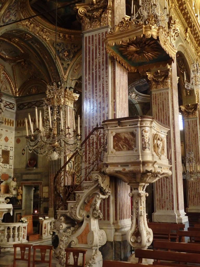 Marble Priest's Podium with overhead Baldacchino