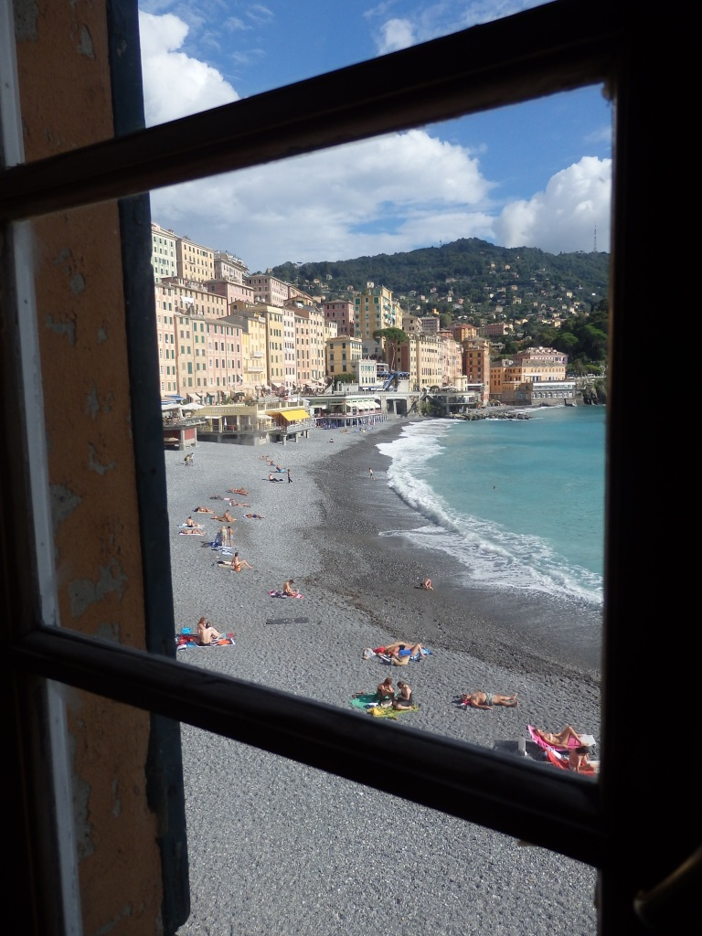 A peek out to the beach from a window in the basilica