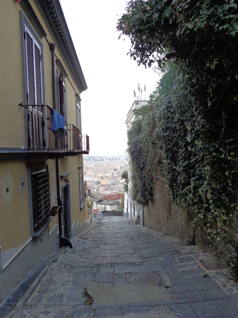 Strolling through a neighborhood street while descending Vomero hill.