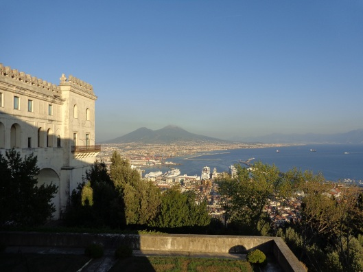 Museum of San Martino on the left looking out over Mt. Vesuvius and the Bay of Naples