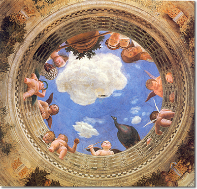 Oculus on ceiling of Spouses chamber in the castle of San Giorgio in Mantoa. This is all painted on a flat surface but looks 3-D