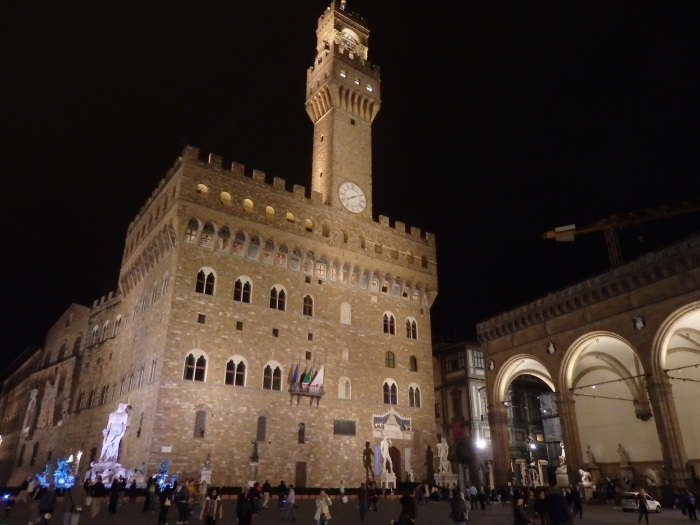The Palazzo Vecchio, the old city hall, stands proudly in the piazza