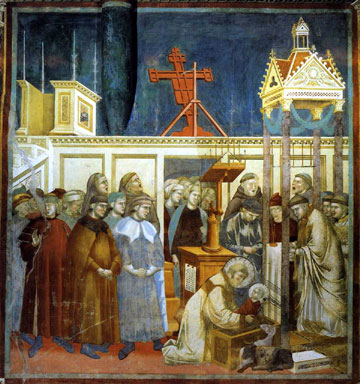 St. Francis kneeling before Baby Jesus...fresco by Giotto