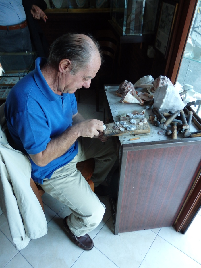 Hard at work carving a cameo