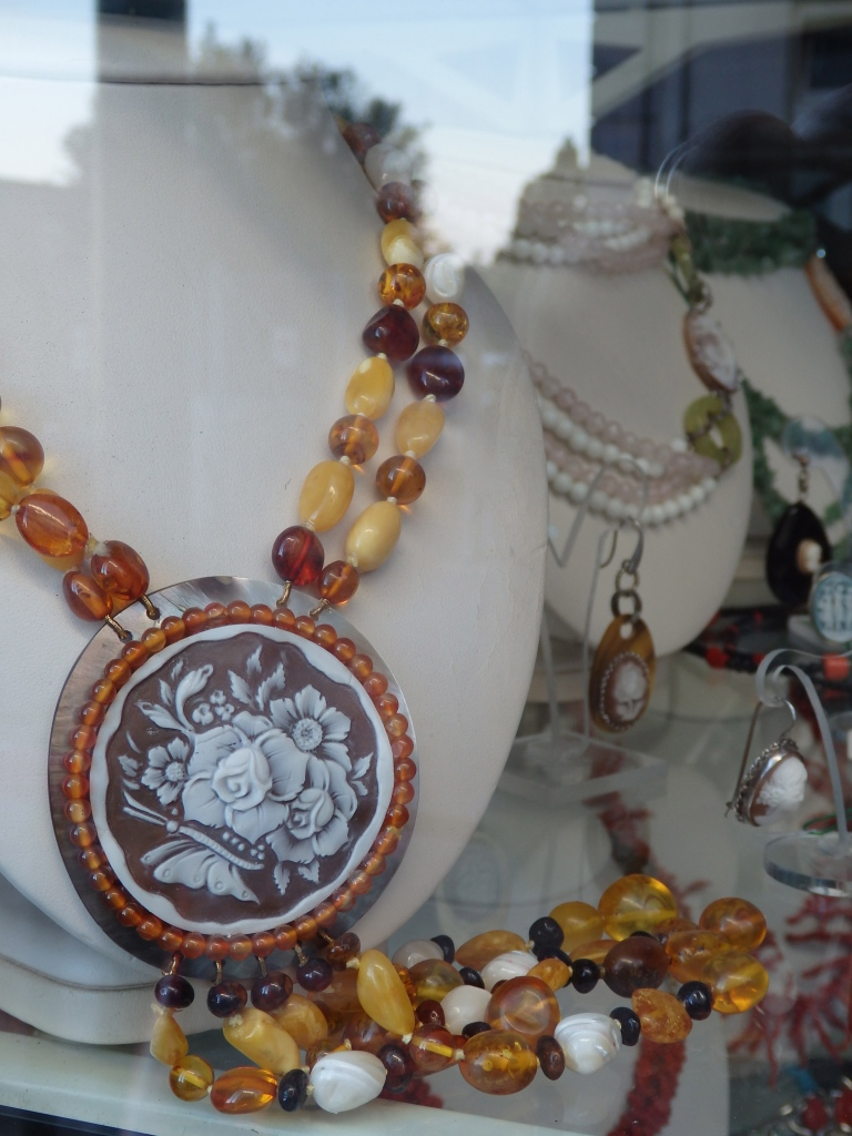 Cameo necklace in shop window