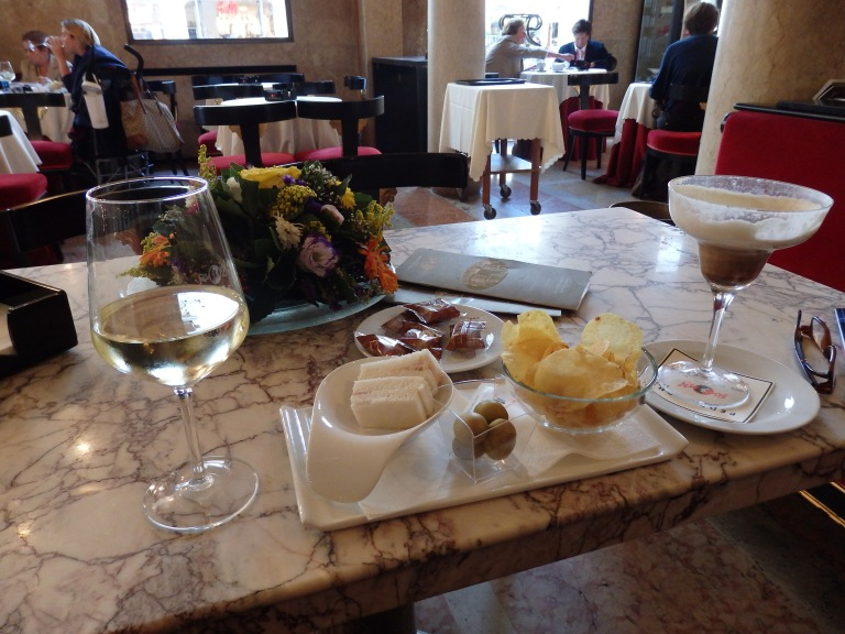 Delectible morsels brought to the tabel accompanied my coffee drink