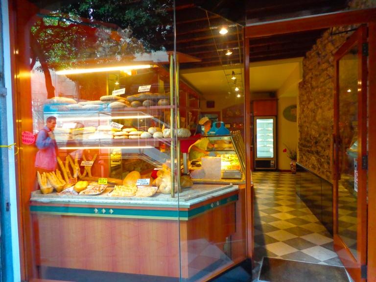 Bakery shop window in Chiavari, Italy