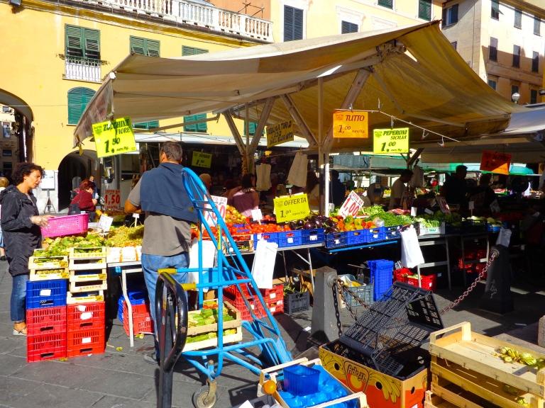 Merchants restock their produce in the market