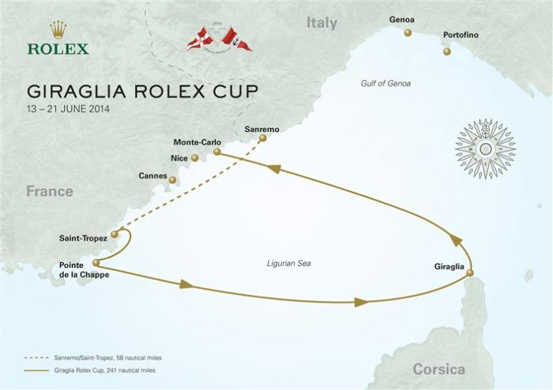 Map of the Giraglia Race 2014
