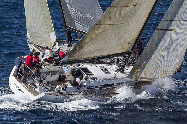 Lucca Locatelli's Thetis nears the finish for second place