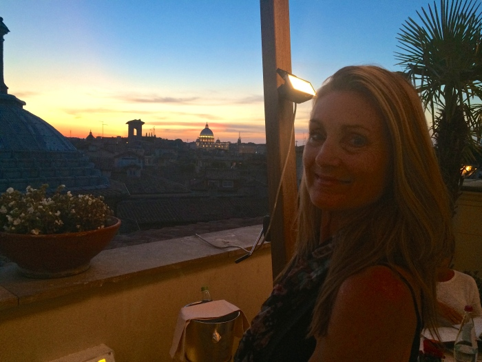 The fading light over Rome inspires me to linger just a bit longer