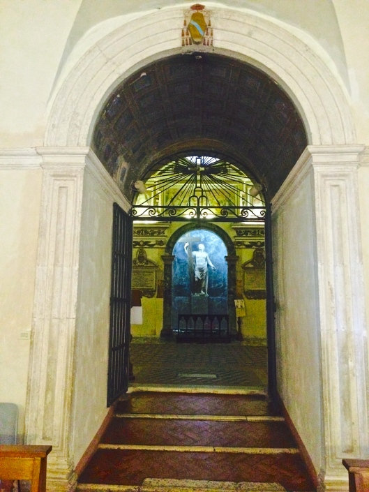Entrance through the gate into St. Helena's Chapel