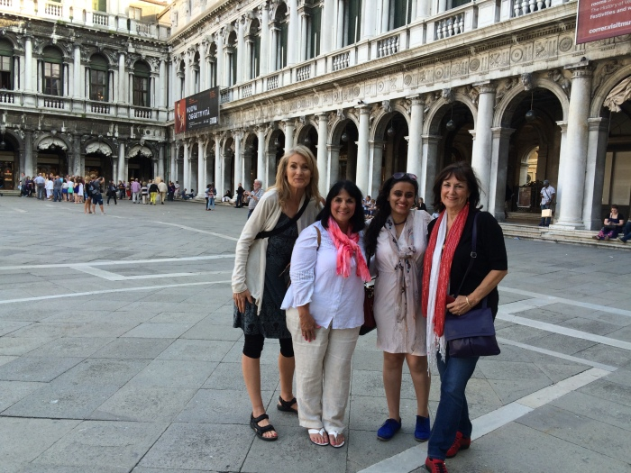 4 bella donne....my travel companions in Venice where we began our exciting adventures. With me are Margie Miklas, Ishita Shood and Victoria DiMaio, all fellow Italy bloggers.