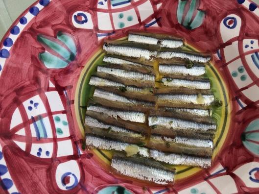 Local anchovies and olive oil at Ristorante La Sponda in Positano