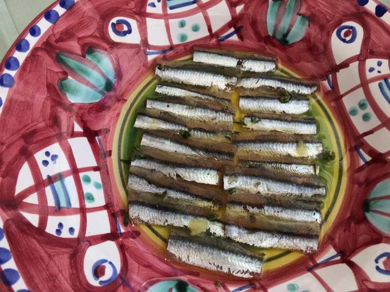 Local anchovies and olive oil at Ristorante La Sponda in Positano
