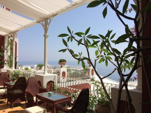 View of Positano and the Mediterranean from our seats at Ristorante La Sponda