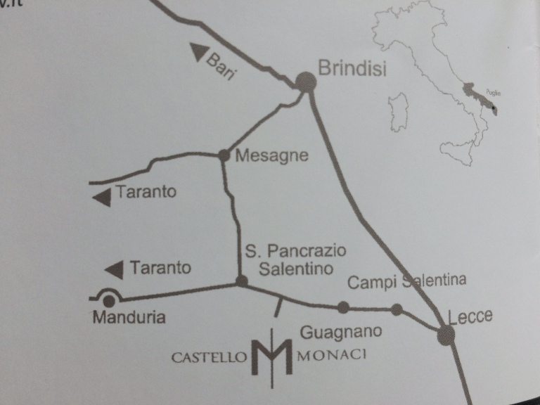 Map showing the location of Castello Monaci