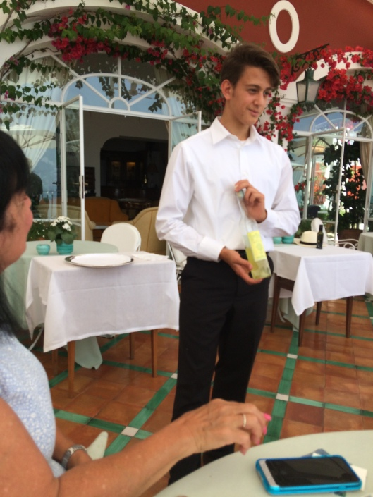 Our young waiter introduced a bottle of locally produced limoncello