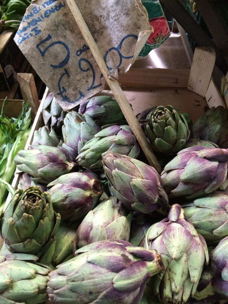 Artichokes with purple accents