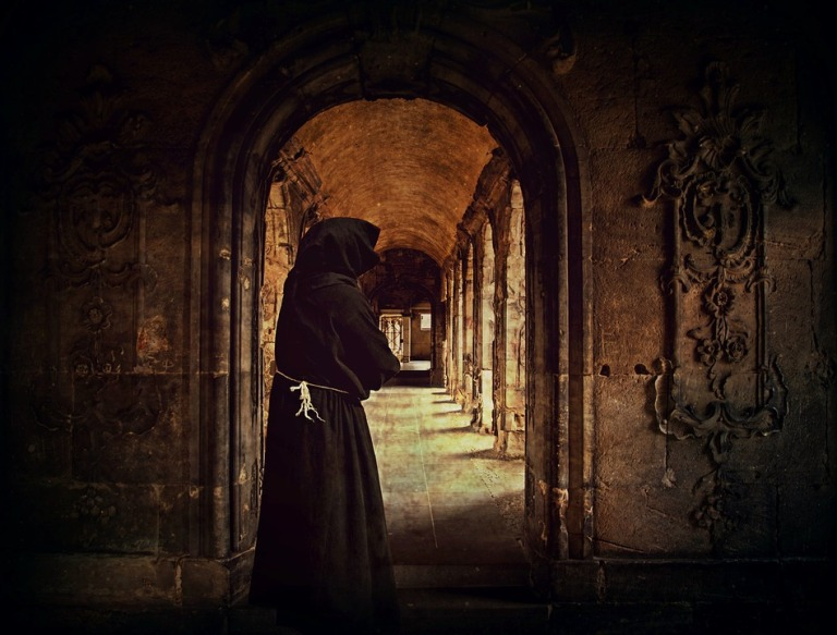 Monk Monastery Cloister Man Archway Cowl Arcade